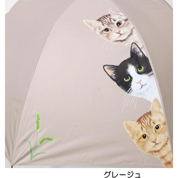 傘 晴雨兼用傘 猫柄 猫3匹柄 UVカット 長傘 雨傘 日傘 ジャンプ傘 【同梱不可】 ねこ ネコ 猫雑貨 猫グッズ 女性 レディース かわいい おしゃれ osyarehime 04