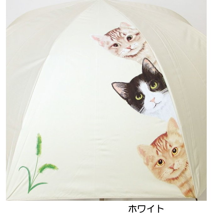 傘 晴雨兼用傘 猫柄 猫3匹柄 UVカット 長傘 雨傘 日傘 ジャンプ傘 【同梱不可】 ねこ ネコ 猫雑貨 猫グッズ 女性 レディース かわいい おしゃれ osyarehime 06