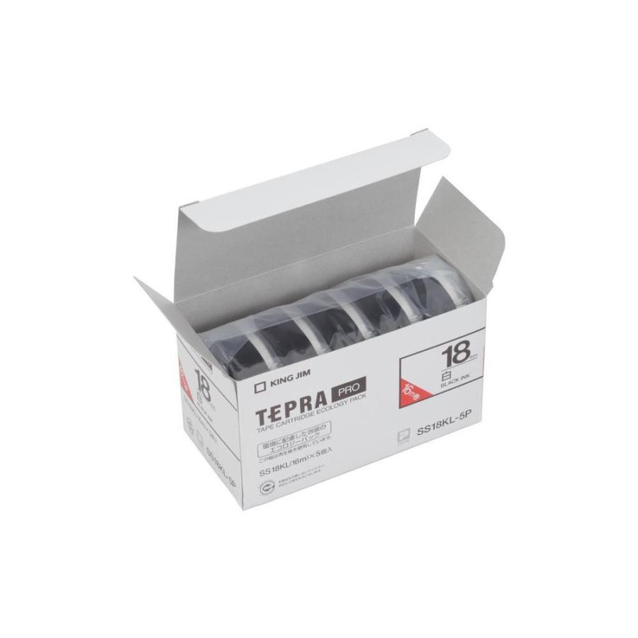KING JIM(キングジム) 「テプラ」PROテープエコパック(5個入り) 白ラベル ロングタイプ/黒文字 幅18mm SS18KL-5P