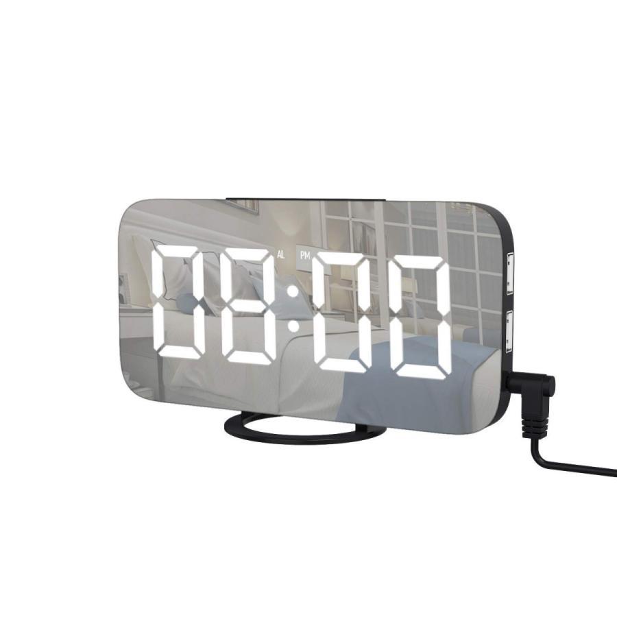 定価の67%OFF USB給電式 目覚まし時計 上品 置き時計 掛け時計 デジタル時計 卓上時計 大音量 三段調節 大型LEDミラー表面デザイン おしゃれ USBポート付き 携帯充電可能