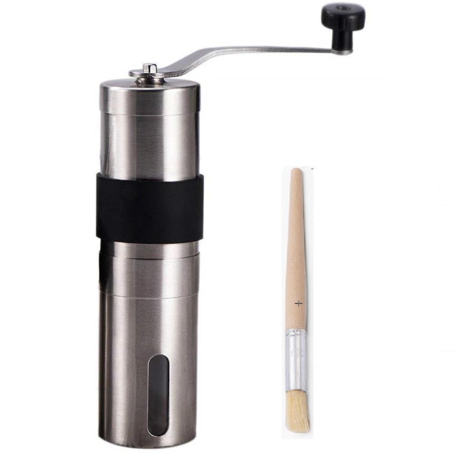 コーヒーミル 滑らない 手挽きコーヒーミル 滑り止め付き マーケット セラミックカッター お掃除ブラシ付き 手動ステンレスミル 高品質