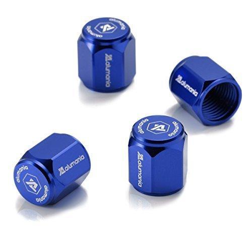 alumania エアバルブキャップ アルミフルビレット 4個セット (HEX-SHORT-STD) (BLUE)|otstore