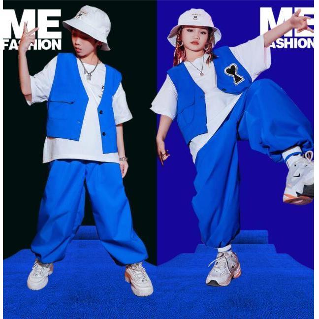 キッズ ダンス 衣装 かっこいい ヒップホップ レッスン着 子供服 夏 男女兼用 青 ファッション 韓国 大人気 ガールズ 蔵 無地 サルエルパンツ ベスト K-POP