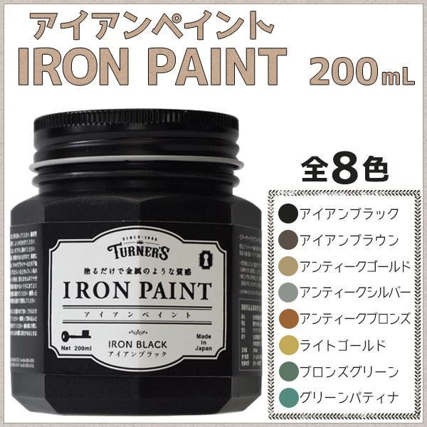 ターナー色彩 アイアンペイント 200mL 全6色 金属のような質感 メタリック調 耐水性 ペンキ 水性塗料 DIY リメイク ouchioukoku
