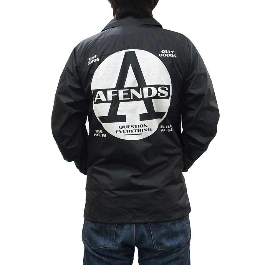 AFENDS アフェンズ サーフ REGISTER COACH JACKET BLACK コーチジャケット アウター 上着 ブラック 黒 our-s 06
