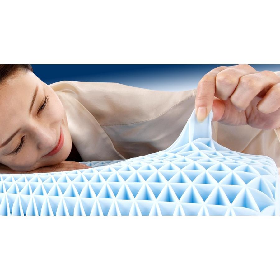 枕 まくら 卵割れない ジェルピロー 無重力ジェル枕 吸着 フィット枕 洗える ブルージェル ゲル枕 スリープル|outlet-f|02