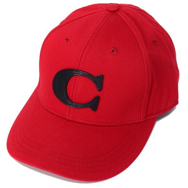 本物 コーチ 帽子 COACH コットン レザー ヴァーシティー C ワンポイント ロゴ キャップ 帽子 レッド 75703, エイブリー 041b4600