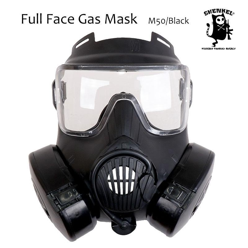 SHENKEL 米軍 US 新型 M50 ガス マスク 軍用 レプリカ フルフェイス ゴーグル レンズ 2枚 ファン 2つ付 フェイス outsiders