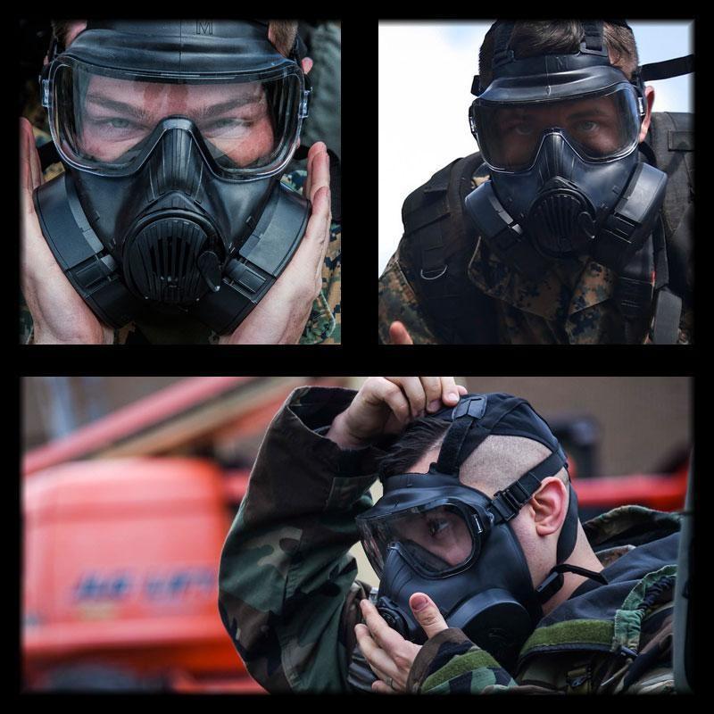 SHENKEL 米軍 US 新型 M50 ガス マスク 軍用 レプリカ フルフェイス ゴーグル レンズ 2枚 ファン 2つ付 フェイス outsiders 02