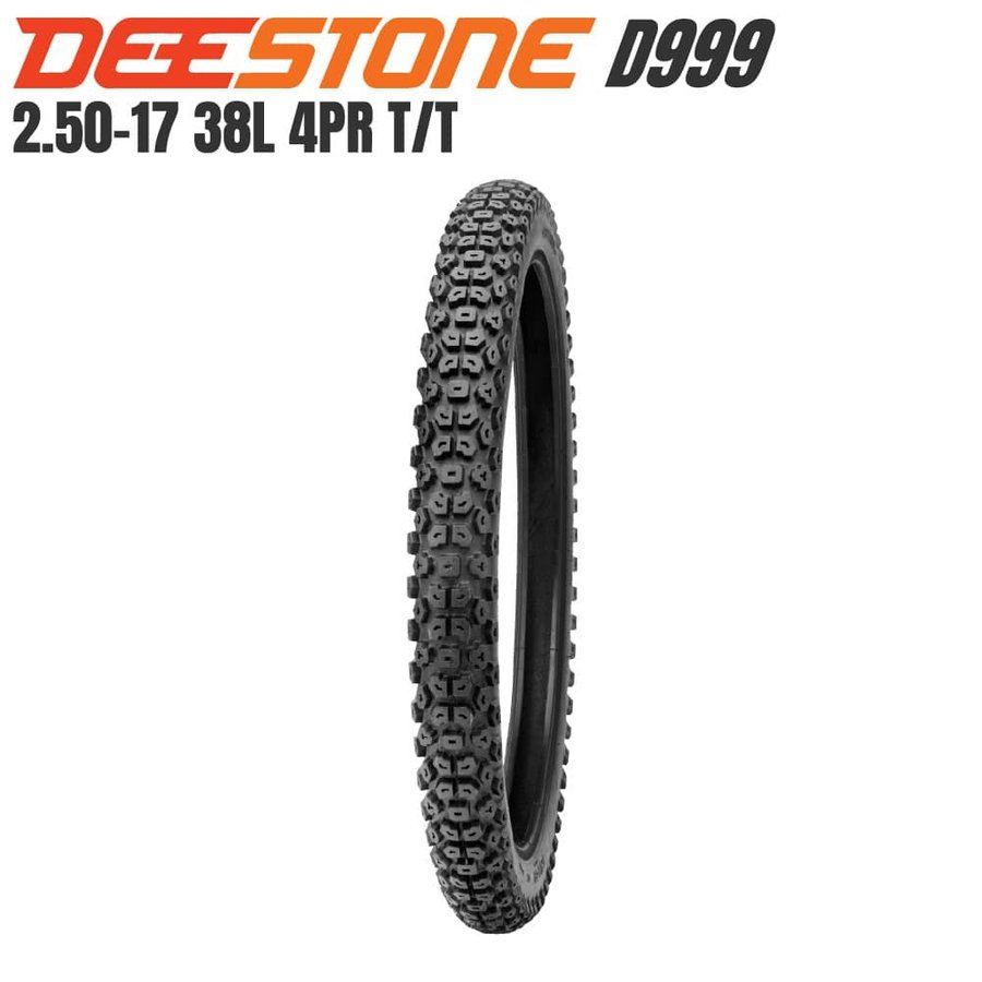 好評受付中 DEESTONE ディーストーン 二輪用 ブロックタイヤ D999 2.50-17 国際ブランド 4PR チューブタイプ 前後兼用 スーパーカブ TT