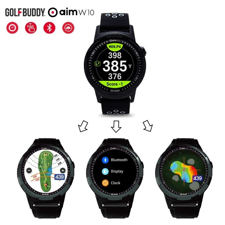 AIM_W10/GOLF_BUDDY/タッチスクリーン/Bliuetoothスマートフォン連動/自動ゴルフコース認識/13時間バッテリー/コース無料アップデート提供