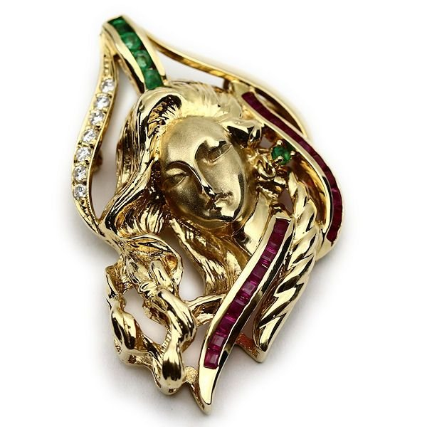 本物品質の ゴールドペンダント 女性像デザイン ルビー ダイヤ エメラルド, キングダムノート 2e4a5997