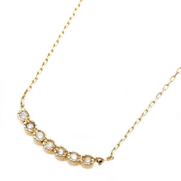 正規品! ダイヤモンド ネックレス K10イエローゴールド ダイヤ0.07ct 7石ダイヤ 7ストーン アンティーク調 ペンダント, タケシムラ 16061df2