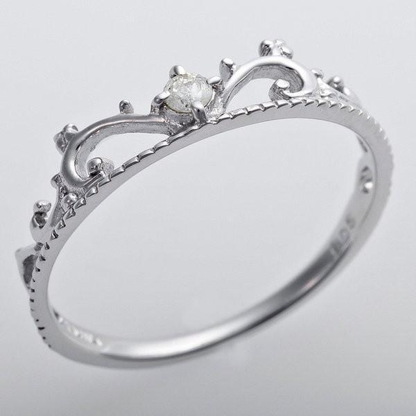 最終値下げ K10ホワイトゴールド 天然ダイヤリング 指輪 ダイヤ0.05ct 9号 アンティーク調 プリンセス ティアラモチーフ, 靴のナカムラ a074bc70