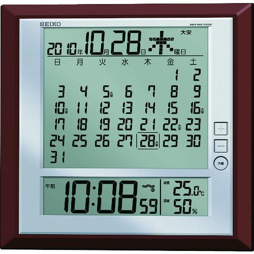 SEIKO 液晶マンスリーカレンダー機能付き電波掛置兼用時計 当店一番人気 茶メタリック塗装 特別セール品 SQ421B セイコークロック 株