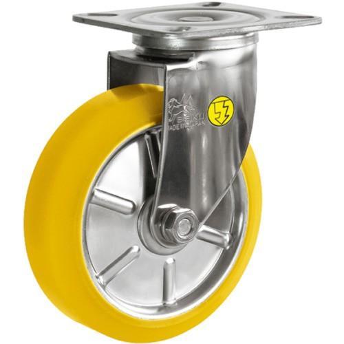シシク ステンレスキャスター 制電性ウレタン車輪付自在(SUNJ125SEUW)