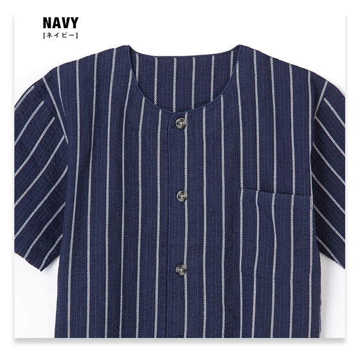 パジャマ メンズ 春 夏 半袖 綿100% 薄手 しじら織り 丸首シャツ 前開き ネイビー/ブルー/ブラック M/L/LLサイズ おそろい pajama 04