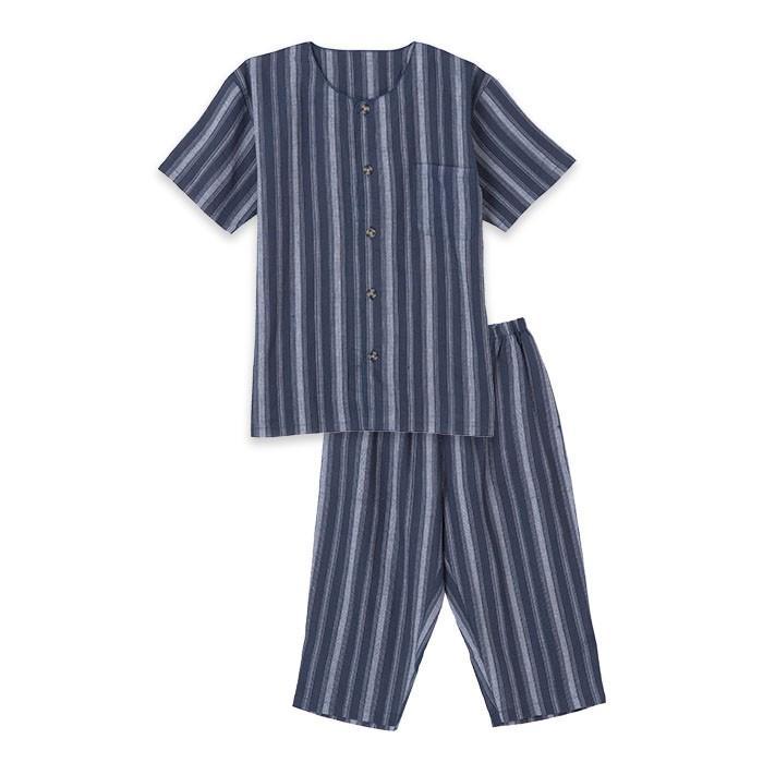 パジャマ メンズ 春 夏 半袖 綿100% 薄手 しじら織り 丸首シャツ 前開き ネイビー/ブルー/ブラック M/L/LLサイズ おそろい pajama 07