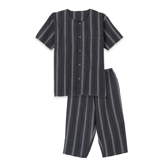 パジャマ メンズ 春 夏 半袖 綿100% 薄手 しじら織り 丸首シャツ 前開き ネイビー/ブルー/ブラック M/L/LLサイズ おそろい pajama 09