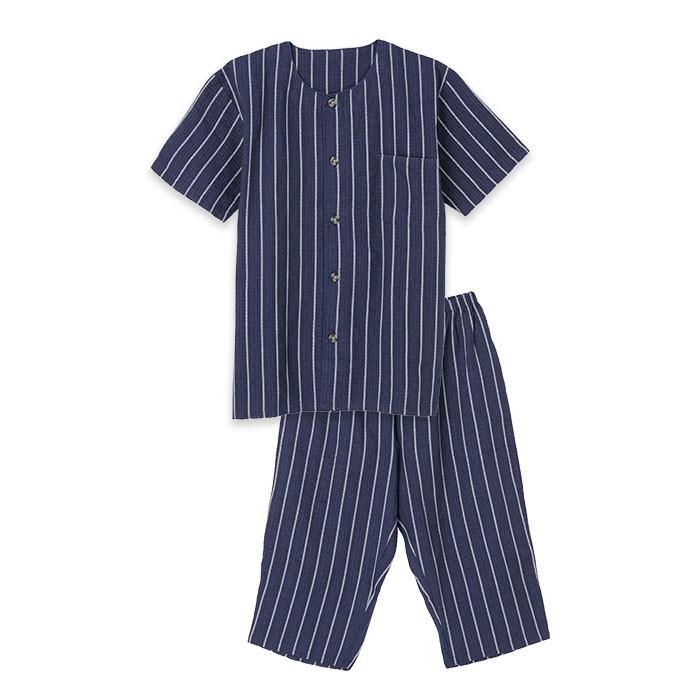 パジャマ ルームウエア メンズ 大きいサイズ 綿100% 春・夏 半袖 薄手 しじら織り 丸首シャツ ネイビー/ブルー/ブラック 3Lサイズ 前開き 上下セット pajama 05