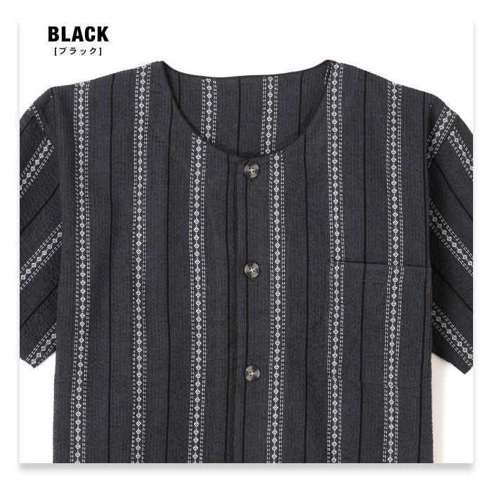 パジャマ ルームウエア メンズ 大きいサイズ 綿100% 春・夏 半袖 薄手 しじら織り 丸首シャツ ネイビー/ブルー/ブラック 3Lサイズ 前開き 上下セット pajama 08