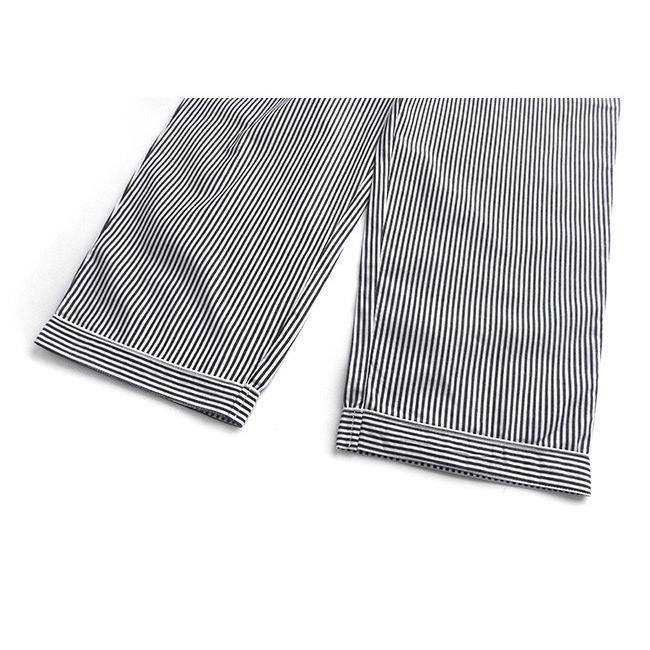 パジャマ ルームウエア メンズ 春 夏 長袖 綿100% 前開き 薄手のシャツ ストライプ ブルー/ブラック/サックス M/L/LL 先染め おそろい STANDARD pajama 12