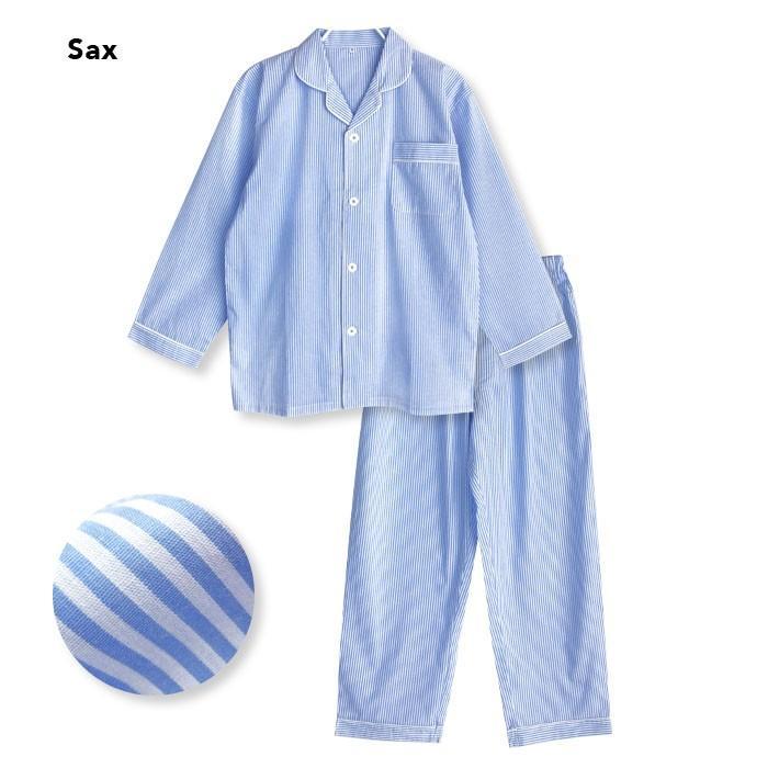 パジャマ ルームウエア メンズ 春 夏 長袖 綿100% 前開き 薄手のシャツ ストライプ ブルー/ブラック/サックス M/L/LL 先染め おそろい STANDARD pajama 15
