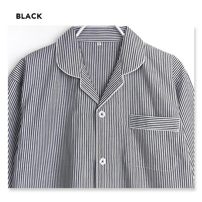 パジャマ ルームウエア メンズ 春 夏 長袖 綿100% 前開き 薄手のシャツ ストライプ ブルー/ブラック/サックス M/L/LL 先染め おそろい STANDARD pajama 05
