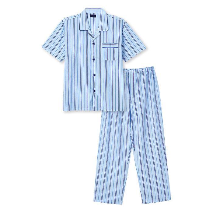 パジャマ メンズ 夏 半袖 綿100% 前開き 薄手のシャツ ストライプ柄 ブルー/グレー M/L/LL おそろい|pajama|06