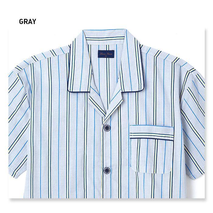 パジャマ メンズ 夏 半袖 綿100% 前開き 薄手のシャツ ストライプ柄 ブルー/グレー M/L/LL おそろい|pajama|07