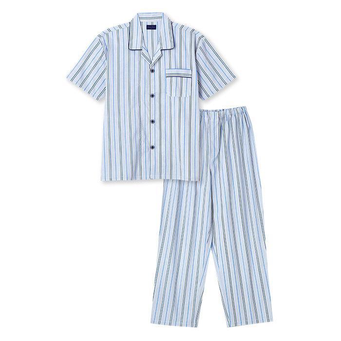 パジャマ メンズ 夏 半袖 綿100% 前開き 薄手のシャツ ストライプ柄 ブルー/グレー M/L/LL おそろい|pajama|08