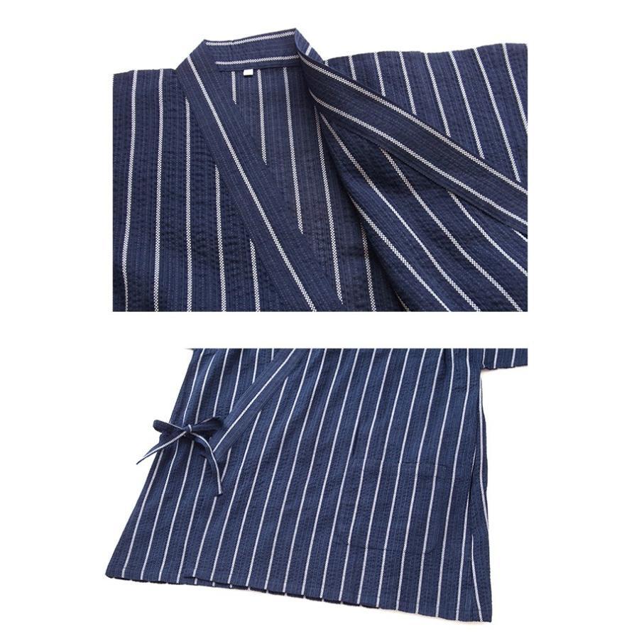 甚平 ルームウエア パジャマ メンズ 春 夏 綿100% 薄手 しじら織り 和風パジャマ 前開き ネイビー/ブルー/ブラック M/L/LLサイズ おそろい|pajama|08
