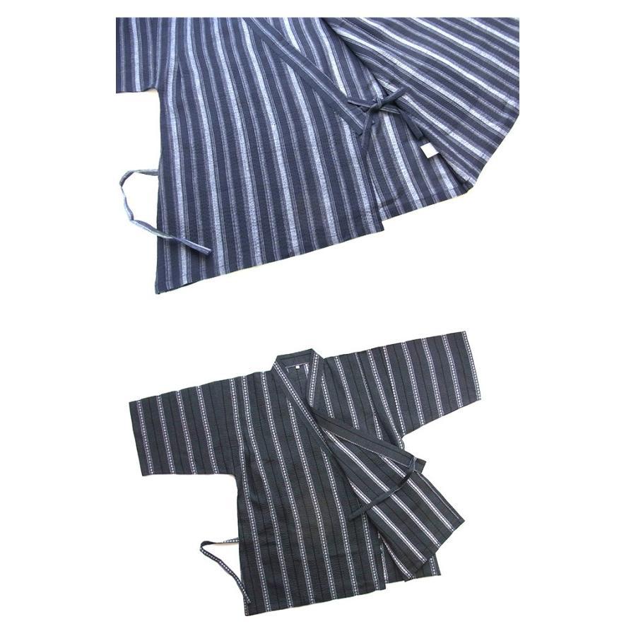 甚平 ルームウエア パジャマ メンズ 春 夏 綿100% 薄手 しじら織り 和風パジャマ 前開き ネイビー/ブルー/ブラック M/L/LLサイズ おそろい|pajama|09