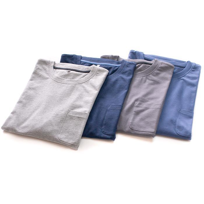 パジャマ ルームウエア メンズ 春 夏 半袖 綿100% 柔らかく軽い薄手の快適Tシャツ素材 上下セット 胸ポケット グレー/ネイビー/チャコール M/L/LL pajama 12