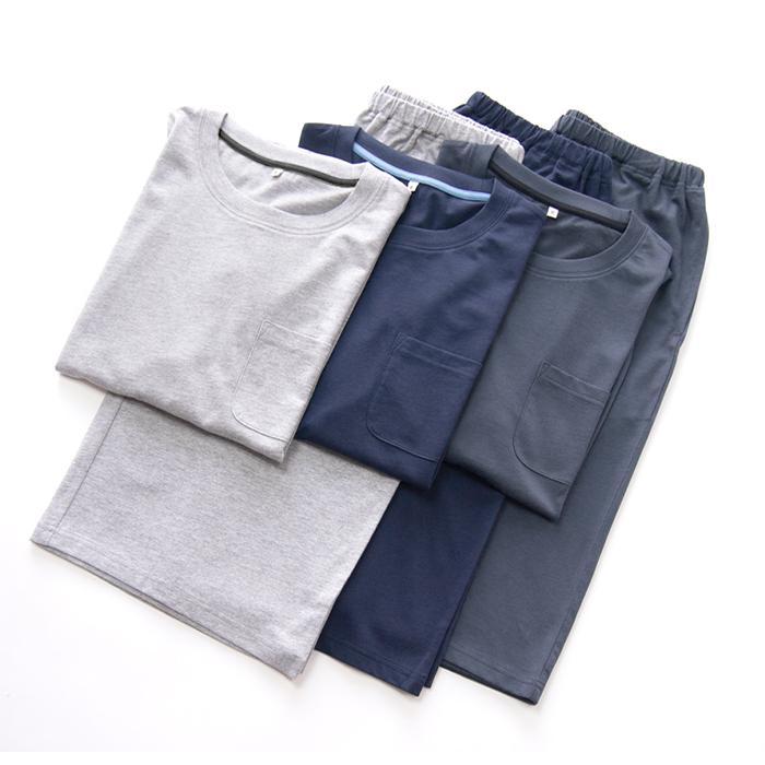 パジャマ ルームウエア メンズ 春 夏 半袖 綿100% 柔らかく軽い薄手の快適Tシャツ素材 上下セット 胸ポケット グレー/ネイビー/チャコール M/L/LL pajama 14