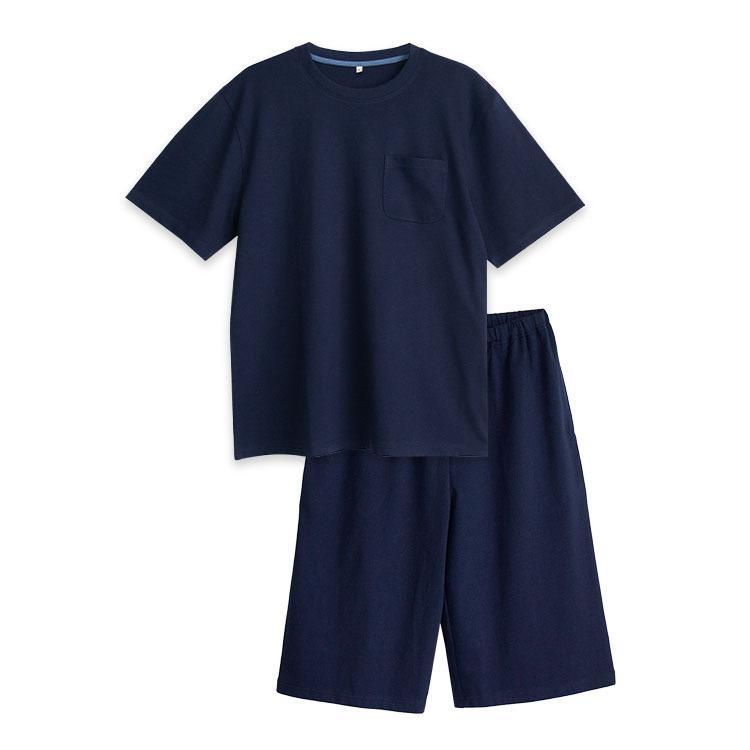 パジャマ ルームウエア メンズ 春 夏 半袖 綿100% 柔らかく軽い薄手の快適Tシャツ素材 上下セット 胸ポケット グレー/ネイビー/チャコール M/L/LL pajama 16
