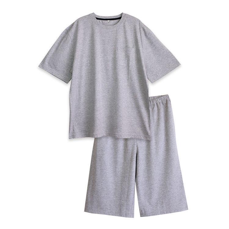 パジャマ ルームウエア メンズ 春 夏 半袖 綿100% 柔らかく軽い薄手の快適Tシャツ素材 上下セット 胸ポケット グレー/ネイビー/チャコール M/L/LL pajama 17