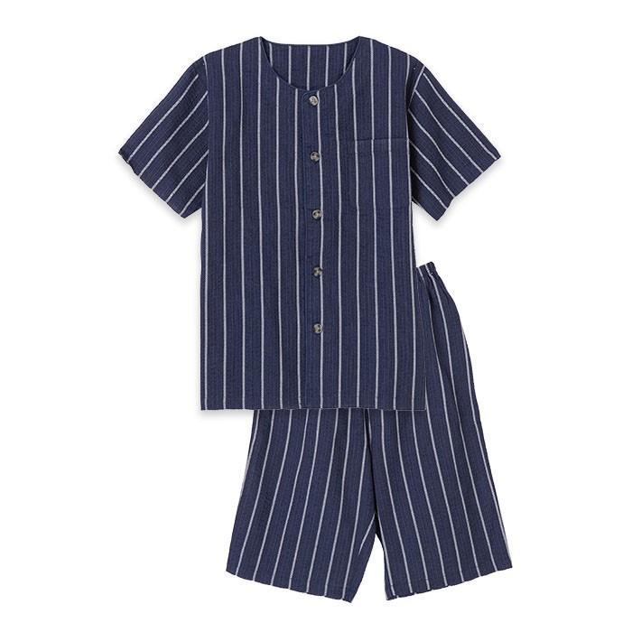 パジャマ キッズ ボーイズ 春 夏 半袖 綿100% 薄手 しじら織り 丸首シャツ 前開き 130-160cm 子供 男の子 ジュニア おそろい メール便送料無料|pajama|05