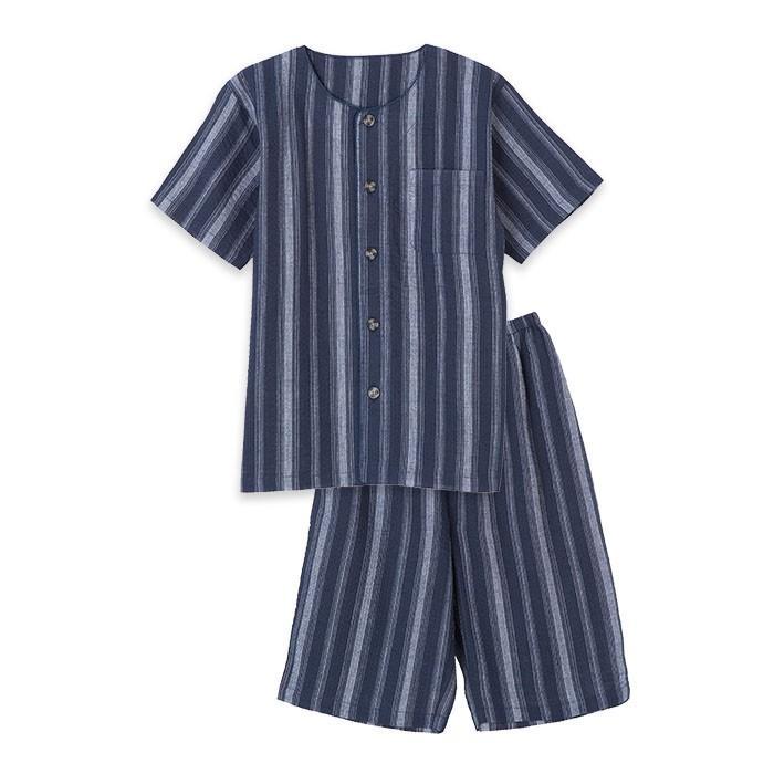 パジャマ キッズ ボーイズ 春 夏 半袖 綿100% 薄手 しじら織り 丸首シャツ 前開き 130-160cm 子供 男の子 ジュニア おそろい メール便送料無料|pajama|07