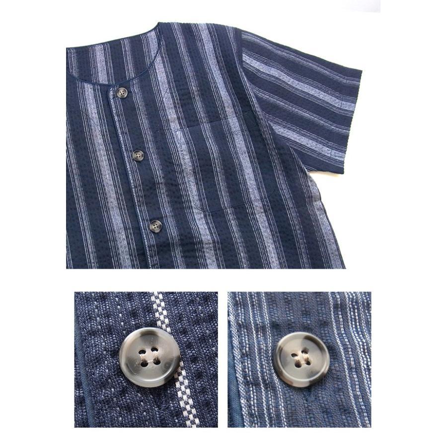 パジャマ キッズ ボーイズ 春 夏 半袖 綿100% 薄手 しじら織り 丸首シャツ 前開き 130-160cm 子供 男の子 ジュニア おそろい メール便送料無料|pajama|09
