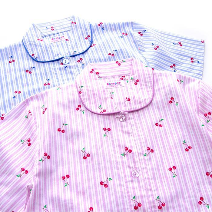 パジャマ キッズ ガールズ 夏 半袖 綿100% 子供 前開き 薄手シャツ 女の子 チェリーストライプ柄 ブルー/パープル 130/140/150/160 おそろい メール便送料無料|pajama|13