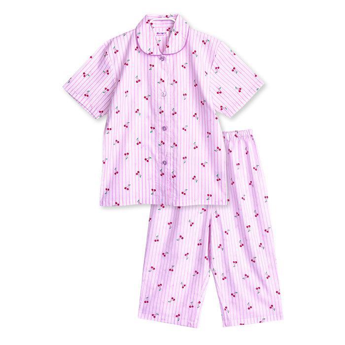 パジャマ キッズ ガールズ 夏 半袖 綿100% 子供 前開き 薄手シャツ 女の子 チェリーストライプ柄 ブルー/パープル 130/140/150/160 おそろい メール便送料無料|pajama|06