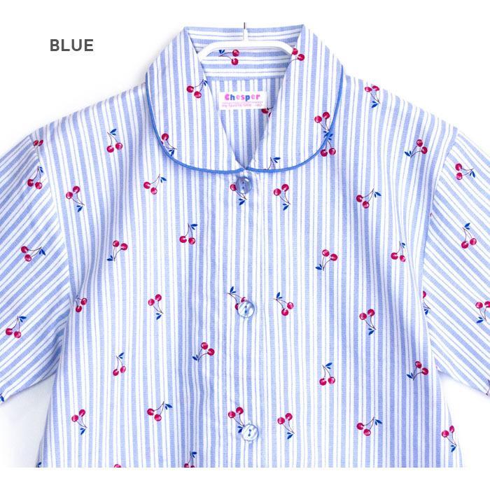 パジャマ キッズ ガールズ 夏 半袖 綿100% 子供 前開き 薄手シャツ 女の子 チェリーストライプ柄 ブルー/パープル 130/140/150/160 おそろい メール便送料無料|pajama|07