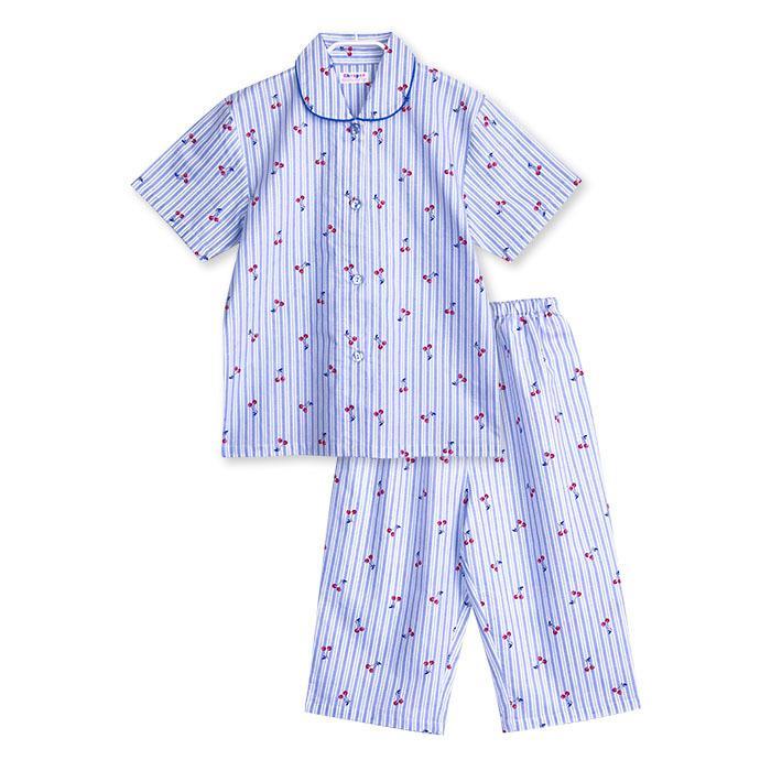 パジャマ キッズ ガールズ 夏 半袖 綿100% 子供 前開き 薄手シャツ 女の子 チェリーストライプ柄 ブルー/パープル 130/140/150/160 おそろい メール便送料無料|pajama|08