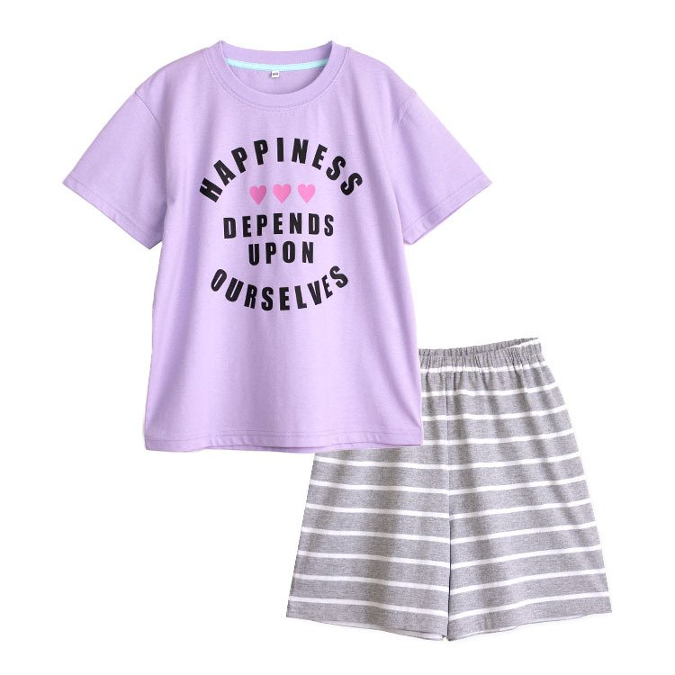 パジャマ キッズ ガールズ 春 夏 半袖 綿100% 子供 ジュニア 薄手のTシャツ 女の子 ロゴプリント ボーダーショートパンツ 130/140/150/160 メール便送料無料|pajama|11