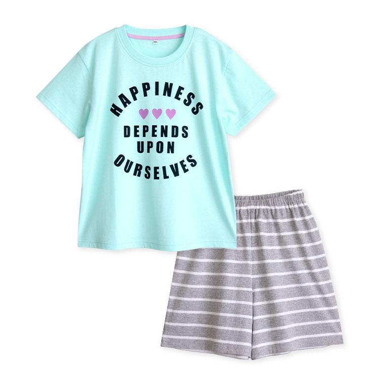 パジャマ キッズ ガールズ 春 夏 半袖 綿100% 子供 ジュニア 薄手のTシャツ 女の子 ロゴプリント ボーダーショートパンツ 130/140/150/160 メール便送料無料|pajama|10