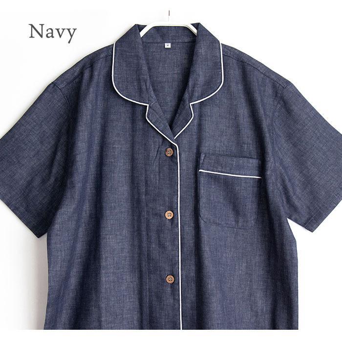 パジャマ レディース 春 夏 半袖 ダブルガーゼ 綿100% 前開き 薄手のシャツ 無地 ネイビー/グレー M/L/LL かわいい おそろい ペア pajama 05