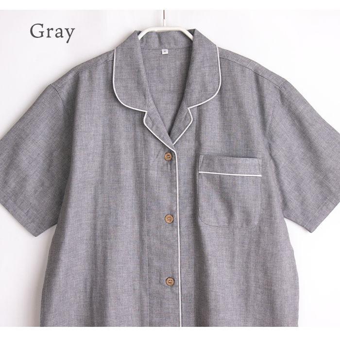 パジャマ レディース 春 夏 半袖 ダブルガーゼ 綿100% 前開き 薄手のシャツ 無地 ネイビー/グレー M/L/LL かわいい おそろい ペア pajama 06