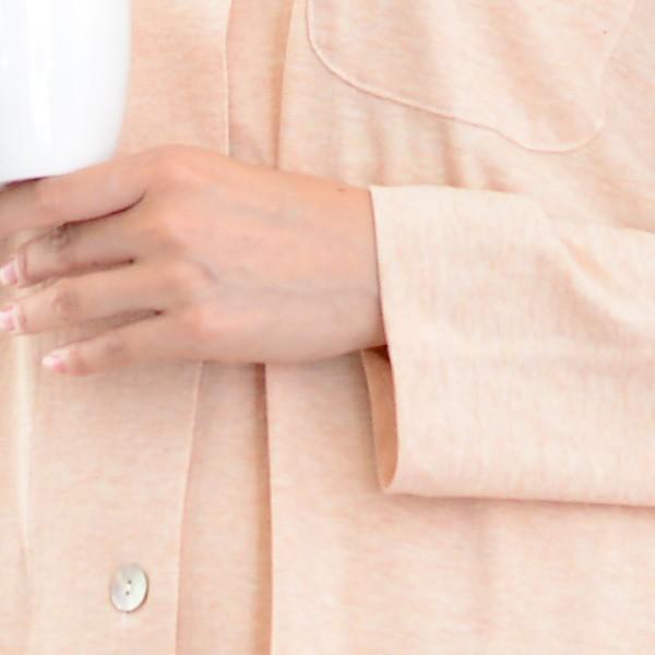 レディース パジャマ 長袖 前開き テーラーカラー オーガニックコットン100% お茶染め 薄地天竺ニット 0337|pajamakobo-lovely|10