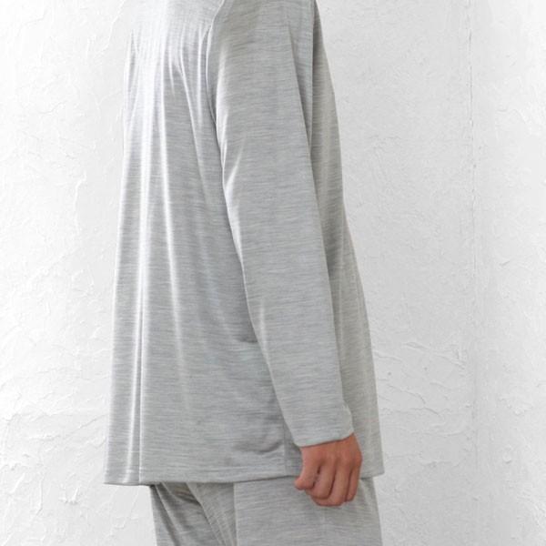 メンズ パジャマ 長袖 前開き テーラーカラー シルク100%薄地天竺ニット 0524|pajamakobo-lovely|13